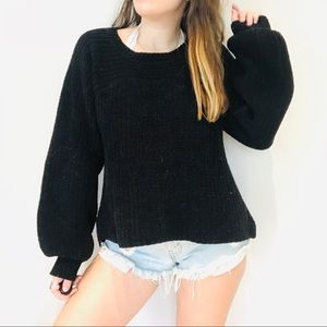 Free People black chunky oversized sweater
